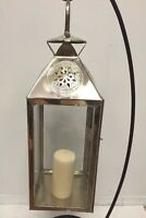 Moroccan Star Lantern Silver Metal & Glass Hanging Votive Lamp Candle Medium