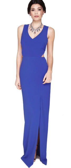 Nicole Miller Blue Crepe V Neck Cutout Back Front Evening Gown 10 New