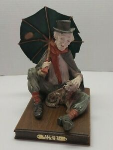Vintage-CAPODIMONTE-Old-Man-Hobo-with-Umbrella-and-Dog-Figurine