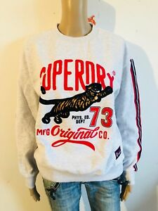 Das Bild wird geladen Superdry-cooles-Sweatshirt-Schriftzug-in-grau-NEU-Gr- c07dedf609