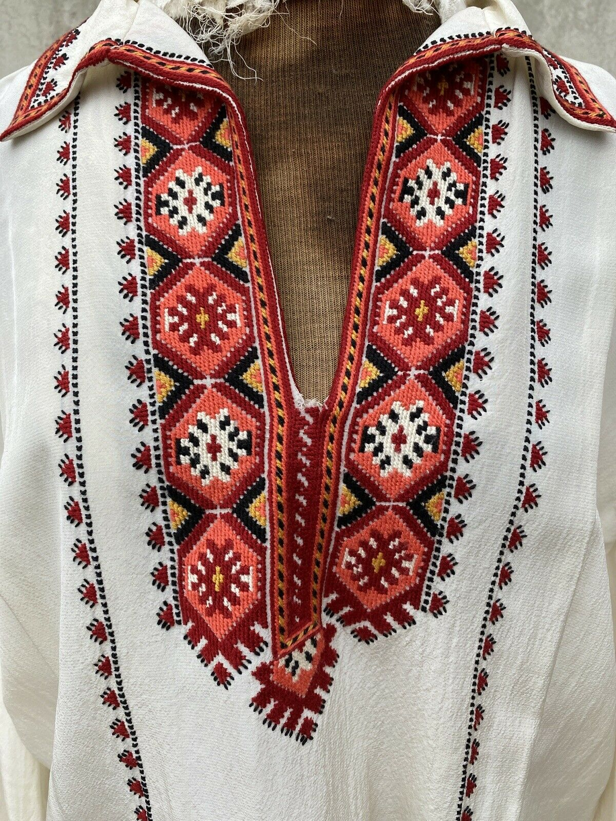 Antique 1930s White Silk Peasant Blouse Red Wool … - image 1