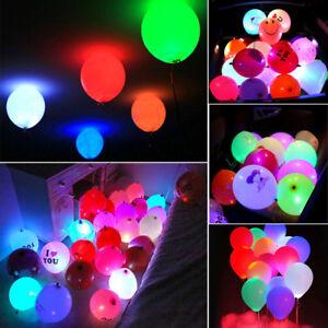 50pcs colorful led glow balloons paper lantern lights wedding party