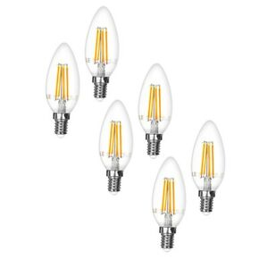 6er-4W-E14-400lm-LED-Birnen-ersetzt-40W-Gluehlampe-Kerzen-Lampe-Leuchte-Warmweiss