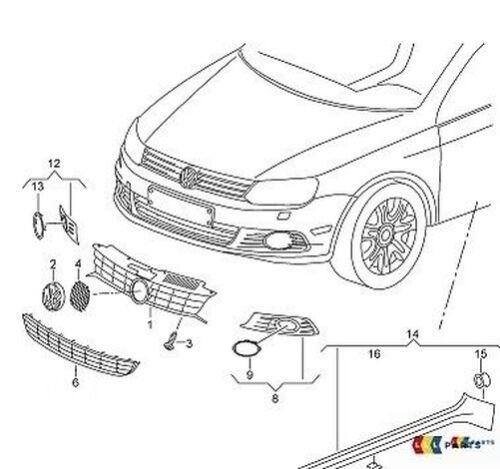 Neu Original VW Eos 11-16 O//S Vordere Stoßstange Nebelscheinwerfer Gitter