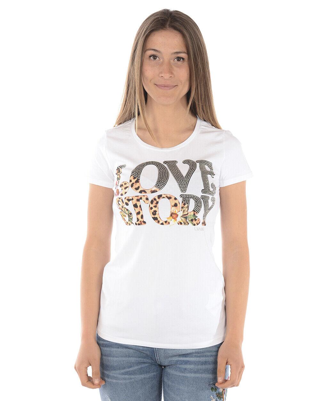 T shirt Maglietta Liu Jo Sweatshirt MADE IN ITALY damen Bianco F18297J9122 11111