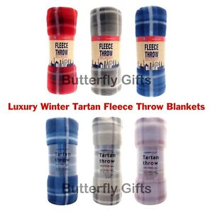Luxury Tartan Check Polar Fleece Throw Blanket Red Grey Blue 120cm x 150cm cc