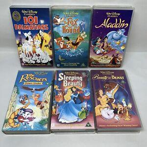 Disney-VHS-Video-Bundle-101-Dalmations-Fox-amp-Hound-Aladdin-Sleeping-Beauty-1123B