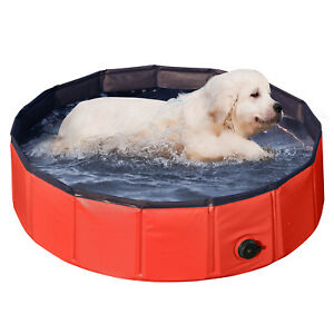 Details about Small Collapsible Outdoor Pet Dog Cat Kiddie Swimming Pool  Bathing Tub, Red