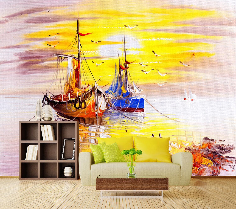 3D SegelStiefel Malen 933 Tapete Wandgemälde Tapeten Bild Familie DE Lemon
