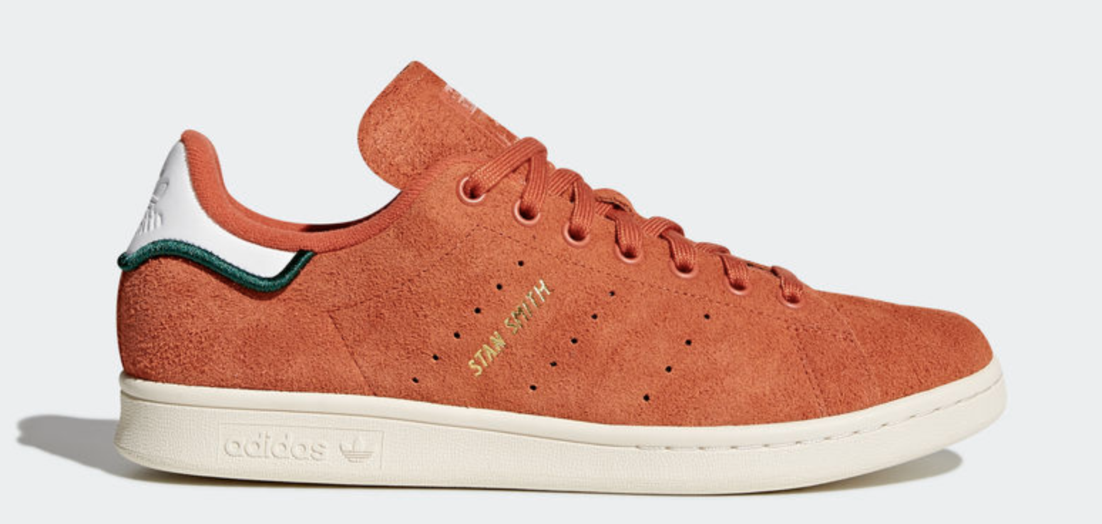 11.5 adidas Originals STAN SMITH CQ3091 Hairy Suede Trace Orange Casual Shoes