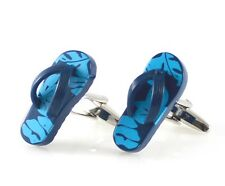 Men novelty flip flop cufflink navy with blue print slippers cufflink MD0269