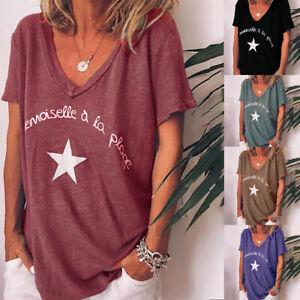 T-shirt-a-Manches-Courtes-pour-Femmes-d-039-ete-Decontractee-Imprimee-Tops-Hauts