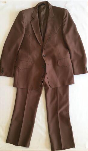 H Bar C Western 2 Piece Suit 42R 36X31 Pants Brown