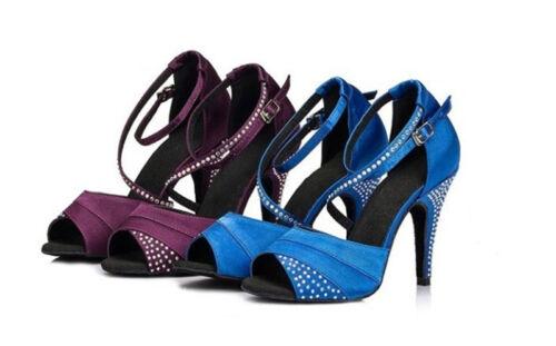 Satin Crystal Rhinestone Ballroom SALSA Latin Heeled Dance Shoes Fashion NewJazz