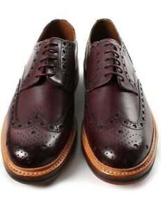 FAIT-MAIN-homme-en-cuir-marron-Oxford-Richelieu-a-bout-d-039-aile-Derby-Shoes-GOODYEAR-cousu