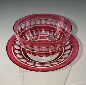 Val-St-Lambert-VAS73-FINGERBOWL-w-UNDERPLATE-s-Cranberry-Cut-to-Clear-40s-Era