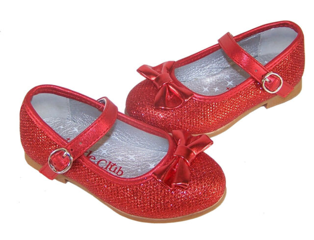 Infant Girls Children Red Sparkly Dorothy Shoes Ballerina Party