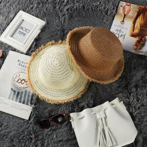 a67acd295f9 Women Ladies Summer Wide Brim Straw Hat Beach Sun Visor Foldable ...