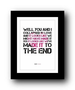 Details about BLUR To The End ❤ song lyrics typography poster art print
