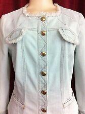 BLUMARINE Women Denim Jacket Button Sz Small S NWOT Lt Blue made in ITALY