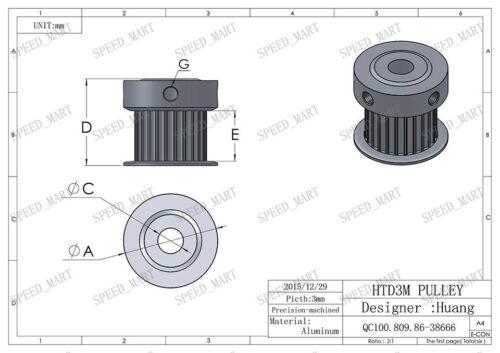 2pcs 3M 24T 6//8//10mm Bore 11mm Width Timing Pulley /& 2m Timing Belt