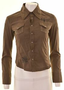 DIESEL-Womens-Shirt-Size-10-Small-Brown-Cotton-AC08
