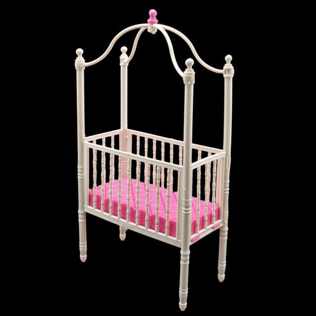 White Nursery Crib Bed Canopy 1/6 Barbie Kelly Doll's House Dollhouse Furniture