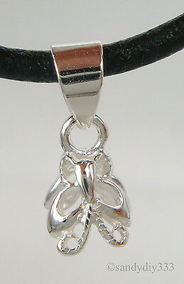 2x STERLING SILVER BRIGHT BUTTERFLY PENDANT PIN BAIL CLASP 3.6 mm cord #2150