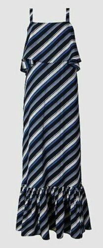 NEW EX CHAIN STORE LADIES  BLUE STRIPE COLD SHOULDER MAXI DRESS SIZES 6-20