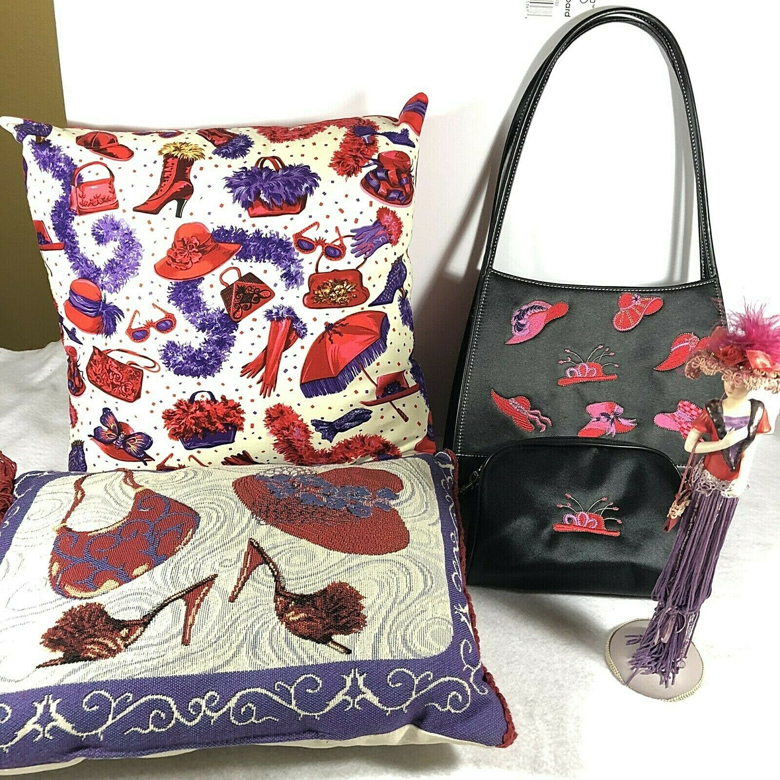 Red Hat Society Lot of 5 Items Including Purse Pillows And Figurine