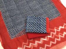 Cotton Bagru dress material for Salwar kameez - Fish scales blue  Fanta orange