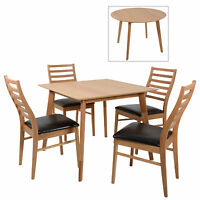 Mackintosh Round/square Oak Wooden Dining Table Furniture Set / 4 Wooden Chairs