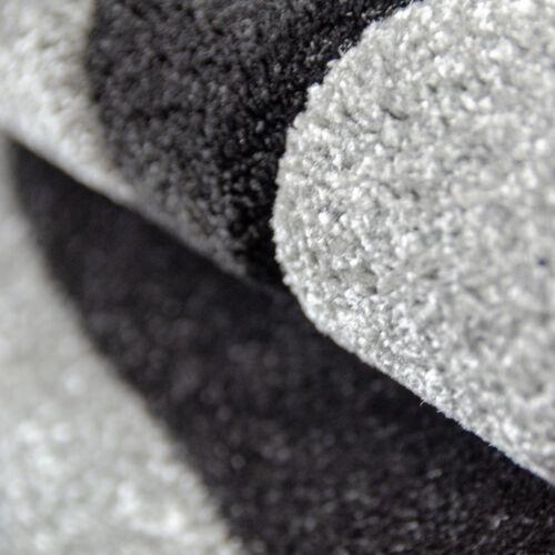 Alfombra suave Moderna Negro Blanco Gris Alfombra de diseño de contorno de corte patrón pequeña X Grande