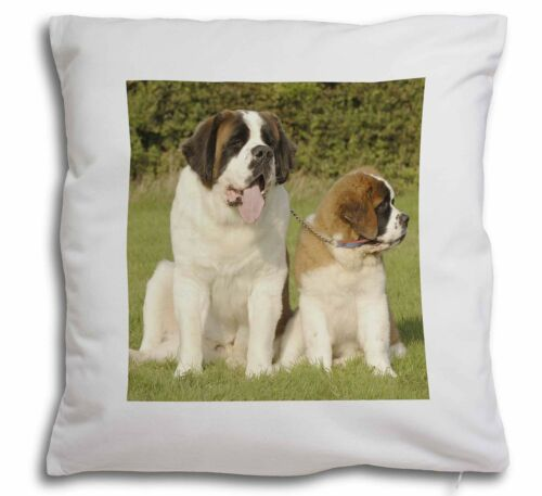 St Bernard Dog and Puppy Soft Velvet Feel Cushion Cover With Inner AD-SBE1-CPW