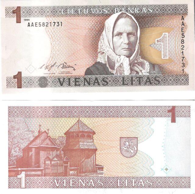 LITHUANIA 1 Litas (1994) Pick 53a, UNC *RARE*