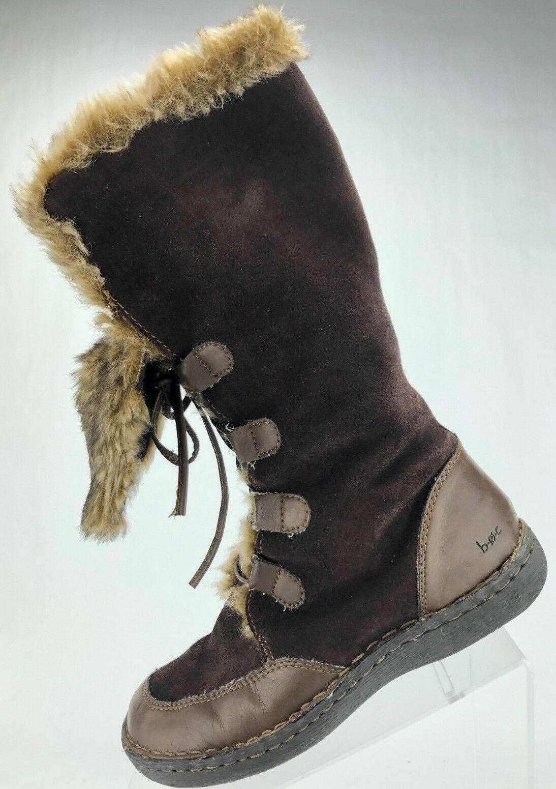 Born Winter Boots - Lace Up Faux Fur Lined Mid Calf Warm Boots Women's 6.5 Brown