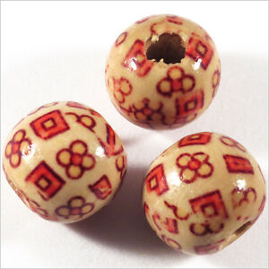 Set-de-20-cuentas-redondas-de-madera-14mm-Motivo-Flores