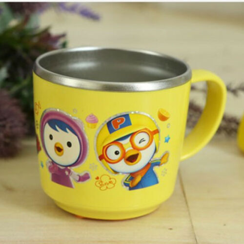 Non Slip Pororo Feeding Children Kid Baby Cup Stainless Steel Korea