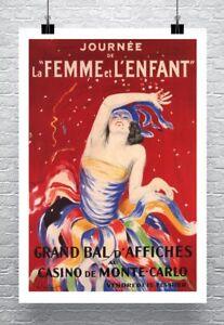 Casino Monte Carlo Leonetto Cappiello Poster Rolled Canvas Giclee 20x30 in.