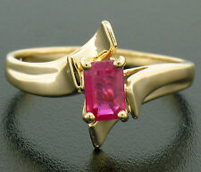14K Solid Yellow Gold .83ct Prong Set Emerald Cut Red Ruby Solitaire Bypass Ring