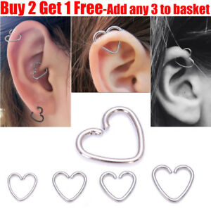 dcd5bf1c1 Image is loading Surgical-Steel-Silver-Heart-Helix-Cartilage-Ring-Tragus-
