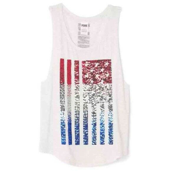 Victoria's Secret PINK Grey USA Flag Bling Red bluee Muscle Tank Top Olympics L