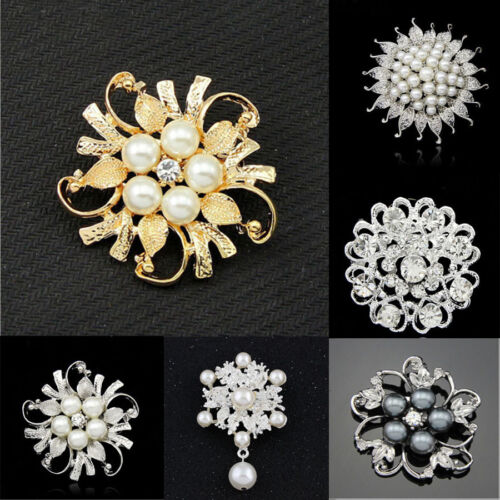 Or Vintage Alliage Strass Cristal Fleur Mariage Bridal Bouquet brooch pin