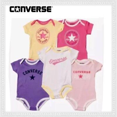 X5 Converse Strampler 5 Packung 3-6//6-9 Monate Trendy Weste Baby Set Mädchen