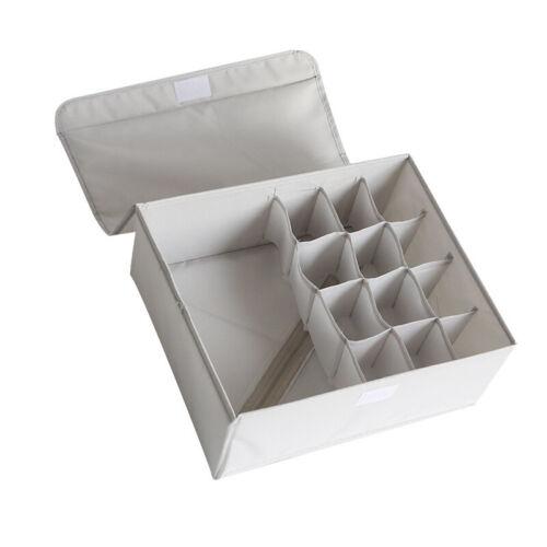 Foldable Closet Drawer Organizer Divider Storage Box For Underwear Bra Sock Ties