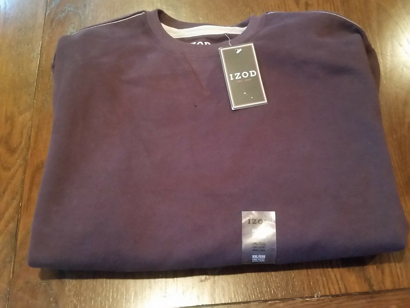 NWT Men's IZOD Purple Long Sleeve Pull Over Soft Warm  Sweater (2XL)
