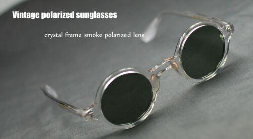 Retro Vintage Johnny Depp sunglasses round crystal frame gray polarized lenses