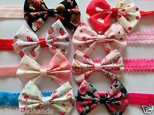 Floral-Fabric-Bow-Headband-Baby-Girl-Headbands-Newborn-Toddler-Girls-Lot
