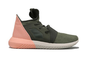 online store 276cf 23b4c Image is loading Adidas-Womens-Tubular-Defiant-Trainers-Shoes-Green-Pink-