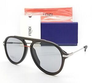 New-Fendi-Aviator-sunglasses-FF-M0011-S-0KB7-58mm-Black-Silver-Red-Grey-GENUINE